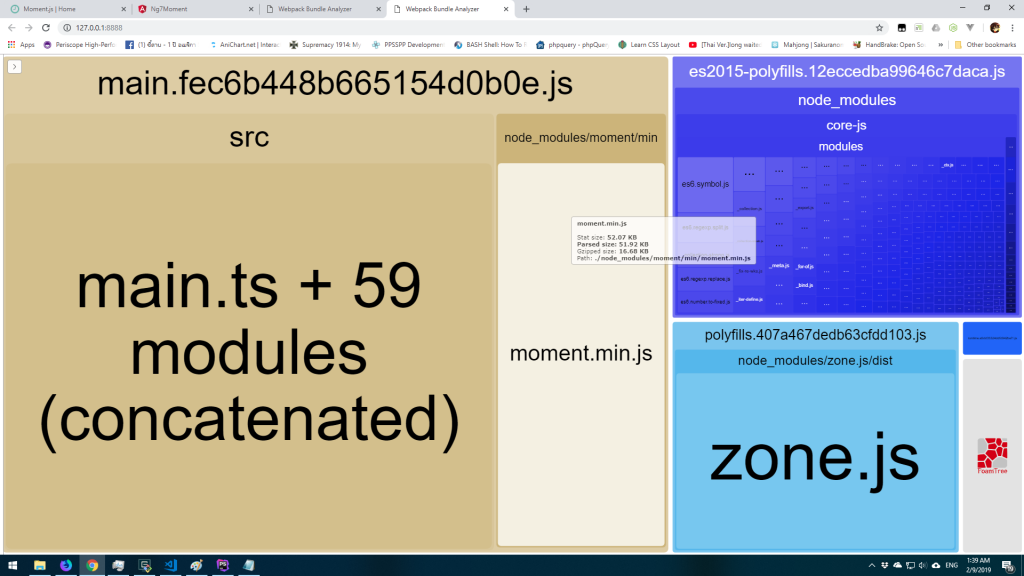 Bundle size after import min version of moment.js